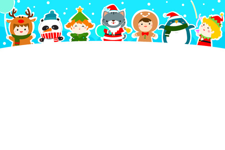 Cute kids and animal in Christmas background vector illustration. 向量圖像