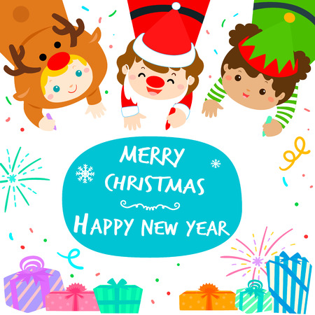 Cute kids in Christmas background vector illustration. 向量圖像