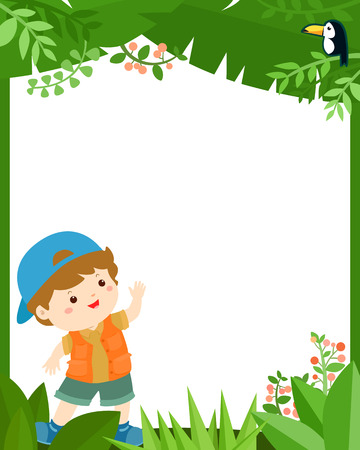 Cute boy in the jungle frame for kids vector template.  Ready for your text.