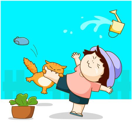 Funny cat play with the girl and bite her leg cartoon vector. 版權商用圖片 - 127052099