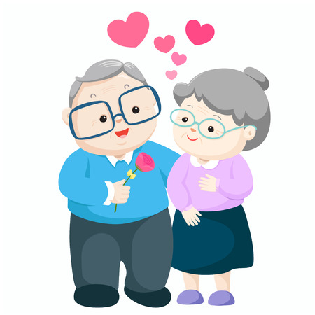 Lovely elderly couple vector.  Grandpa giving flower to grandma illustration. Иллюстрация