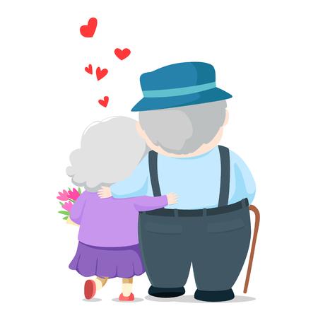Lovely elderly couple cartoon.  Grandpa giving flower to grandma and walking together illustration. Иллюстрация