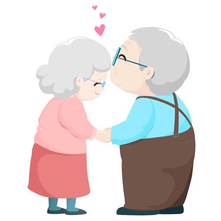 Encantadora pareja de ancianos besándose ilustración vectorial de dibujos animados.