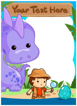 Science kids camping with dinosaur poster vector illustration. Ready for your text. 向量圖像