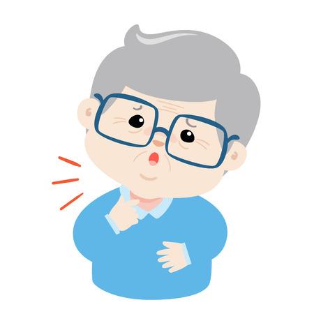 Abuelo dolor de garganta porque vector de la enfermedad de la gripe.