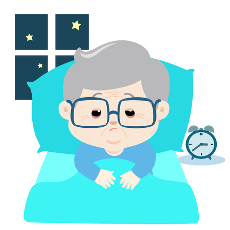 Vector illustration of elderly  cartoon character suffer from insomnia.