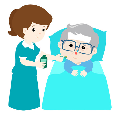 Ill grandfather taking medicine from nurse assitant  with spoon vector. 向量圖像