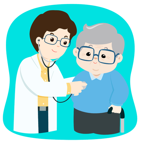 Elderly checkup with doctor cartoon vector illustration.
