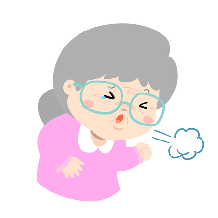 Ill grandmother coughing hard cause flu disease vector