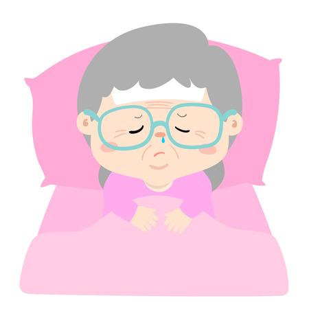 La nonna malata dorme nell'illustrazione di vettore del letto. Vettoriali