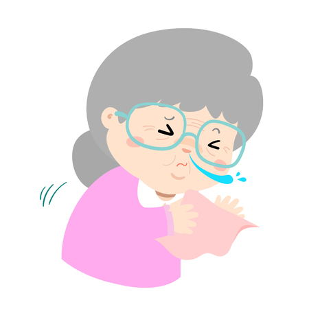 Ill grandmother sneezing because flu disease vector Illustration