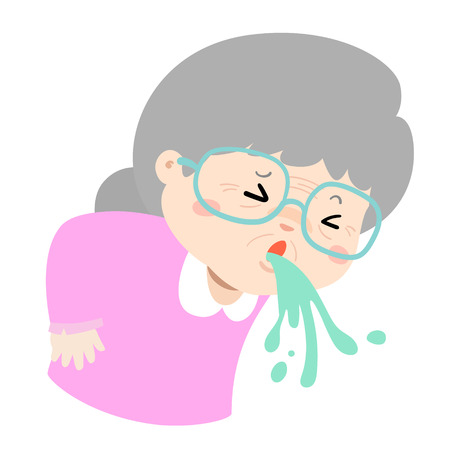 Grandmother vomiting because food poisoning vector