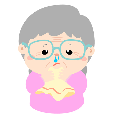 Ill grandmother runny nose because flu disease vector