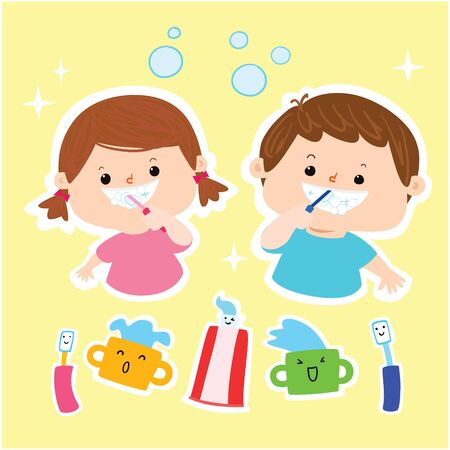 Little boy and girl brushing teeth vector illustration.  イラスト・ベクター素材