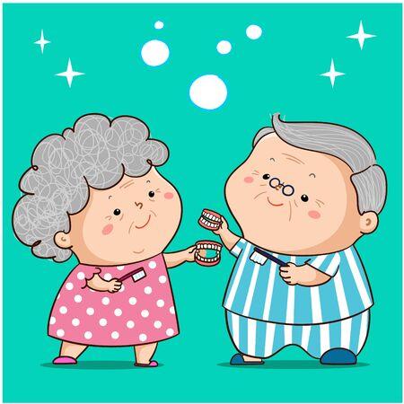 Cute grandparent happy to clean dentures vector illustration.