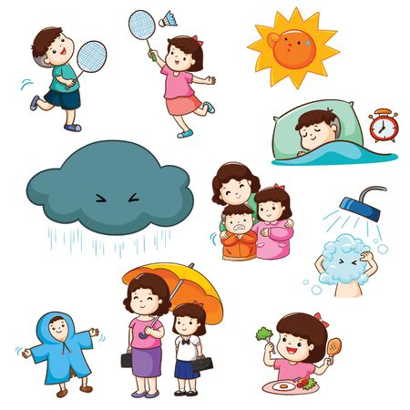 How to stay healthy vector in rainy season illustration pack.