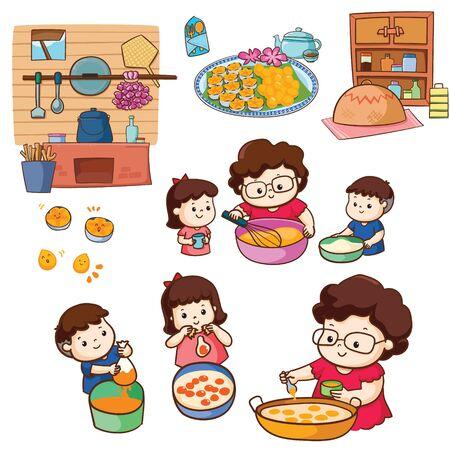 Madre hace postre tailandés con niños juntos paquete de ilustraciones. Ilustración de vector