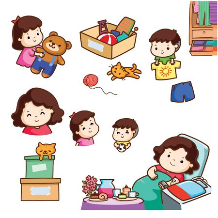 Mother donate blood and children donate toy and clothes cartoon illustration.