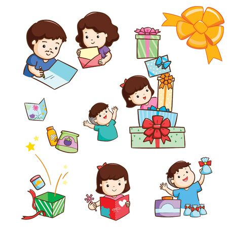 Happy family send Happy New Year card and gift to other people vector illustration.