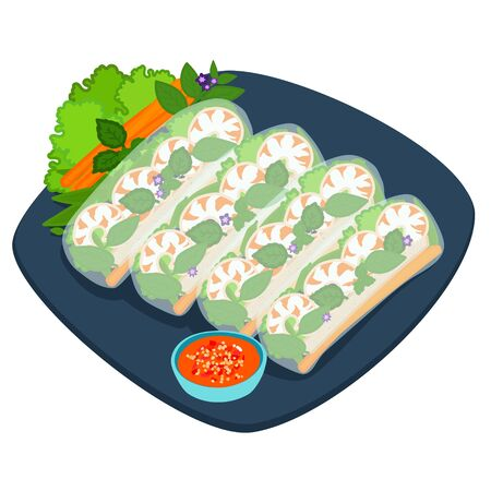 Fresh spring roll with shrimp and dipping sauce vector illustration.
