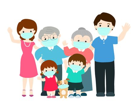 Big family wearing surgical mask to prevent vector illustration. 向量圖像