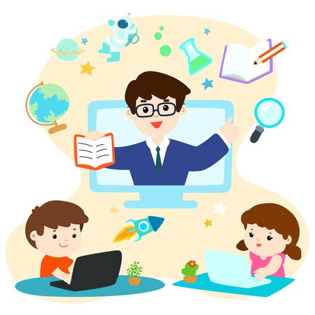 Distance learning online education class for children, social distancing, self-isolation and stay at home concept vector. 向量圖像