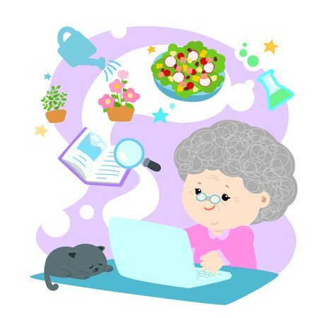 Grandmother sitting at the table and using laptop search for information on the Internet vector. Stay at home concept vector.