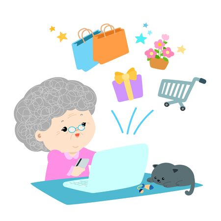 Happy grandmother shopping online with credit card vector illustration.