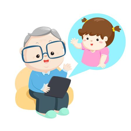 Grandfather online video call with little grandchild vector illustration.