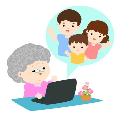Grandmother have a video call chat with her family vector illustration.