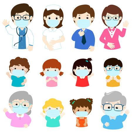 People wearing medical mask, virus protection vector illustration.