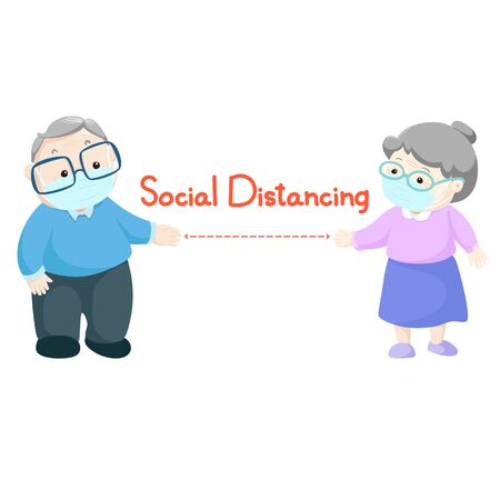 Social distancing between old man and old woman  wearing medical mask maintain to prevent virus vector. 版權商用圖片 - 148775727