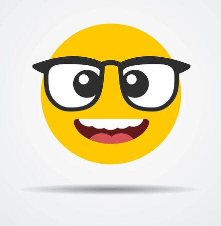 An emoji with glasses while smiling  isolated on plain background. Illusztráció