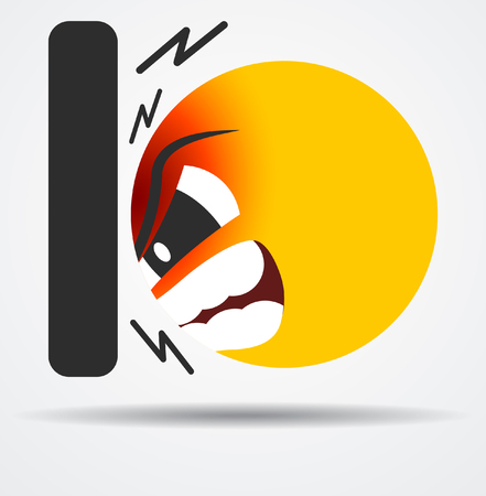 Heat the wall emoticon in a flat design  isolated on plain background. Illustration