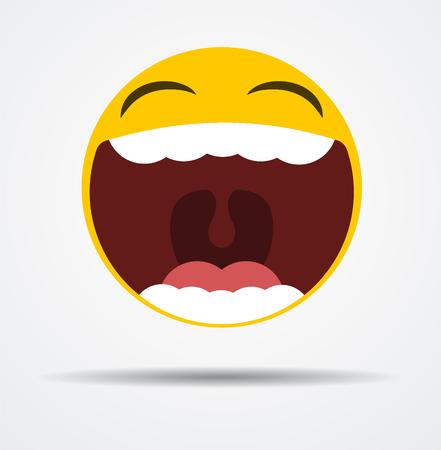 Emoji éclater de rire dans un design plat isolé sur fond uni. Vecteurs