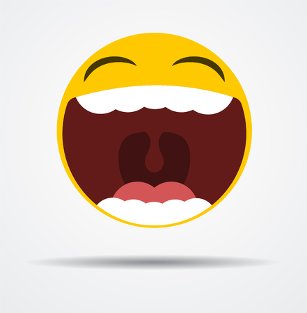 Emoji laughing out loud in a flat design  isolated on plain background.