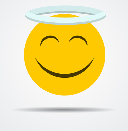 Angel emoticon in a flat design  isolated on plain background. Illustration