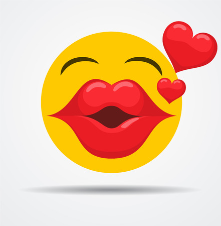 Kissing emoji in a flat design  isolated on plain background.