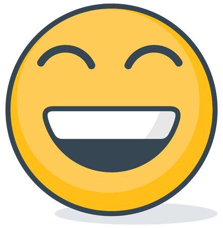 Isolated happy emoticon isolated on plain background. Vektorové ilustrace