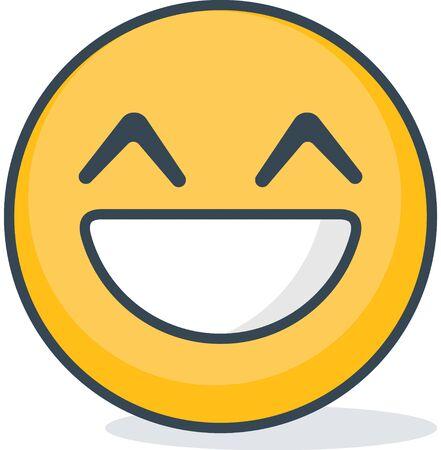 Isolated happy emoticon isolated on plain background.