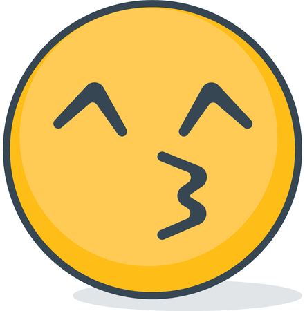 Isolated kiss emoticon. Vector emoticon  isolated on plain background.