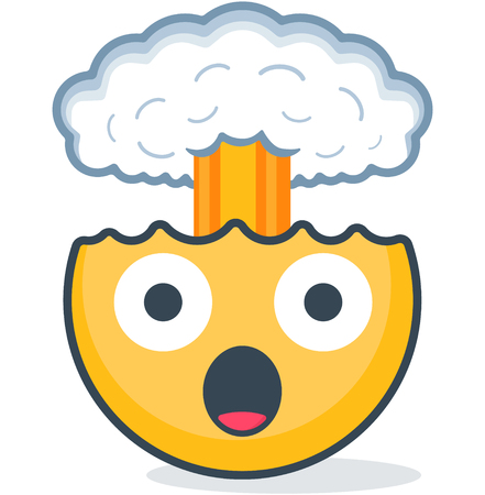 Isolated head explosion emoticon. Vector emoticon. Isolated emoticon Çizim