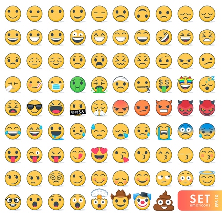 Big set of emoticons with different emotions