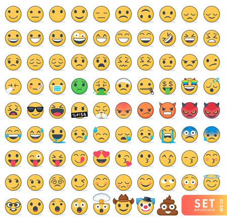 Gran conjunto de emoticones con diferentes emociones.