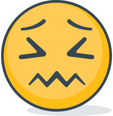 Isolated confused emoticon. Isolated emoticon. Иллюстрация