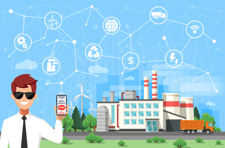 Engineer and smart factory concept. Industrial internet of Things. Sensor Network  Modern digital factory Vector illustration.
