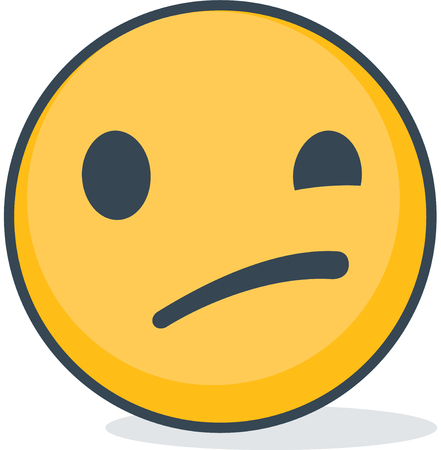 Isolated Confused smiley emoticon. Isolated emoticon.
