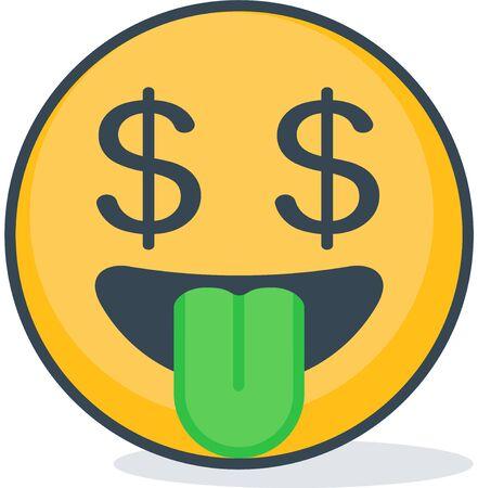 Isolated dollar eyes emoticon Vector illustration.
