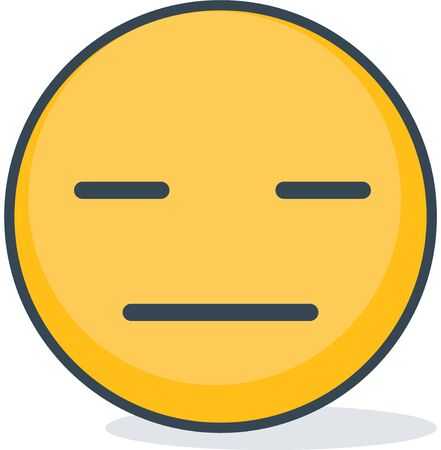 Isolated indifferent emoticon. Isolated emoticon.