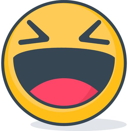 Isolated laughing emoticon. Isolated emoticon.